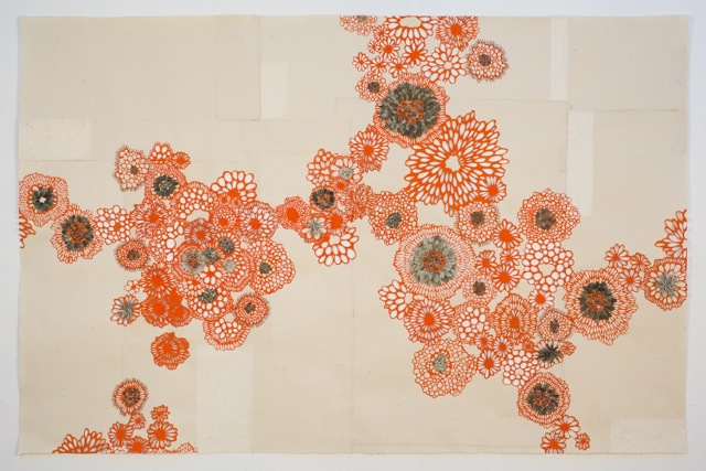 "Orange Interlace 38"" x 38"""